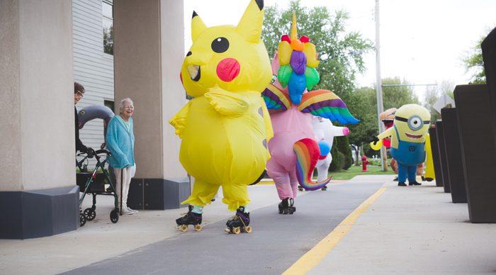inflatables on roller skates