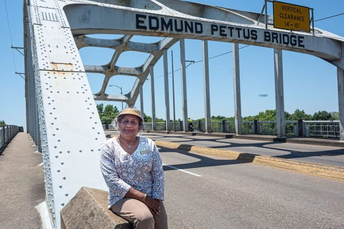Dianne Harris and the famous bridge in Selma, Alabama