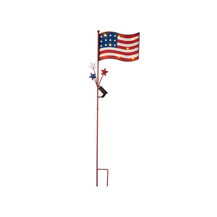 Metal American Flag Yard Stake With Solar Lights