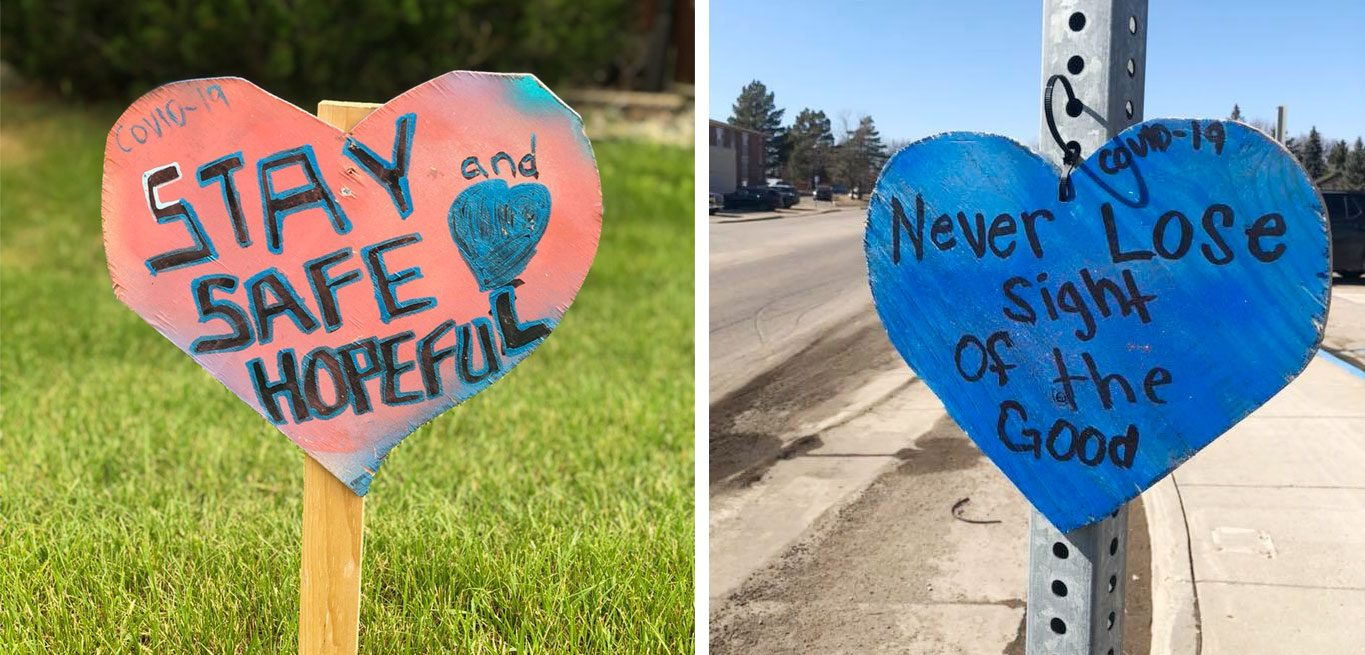 positive messages on hearts