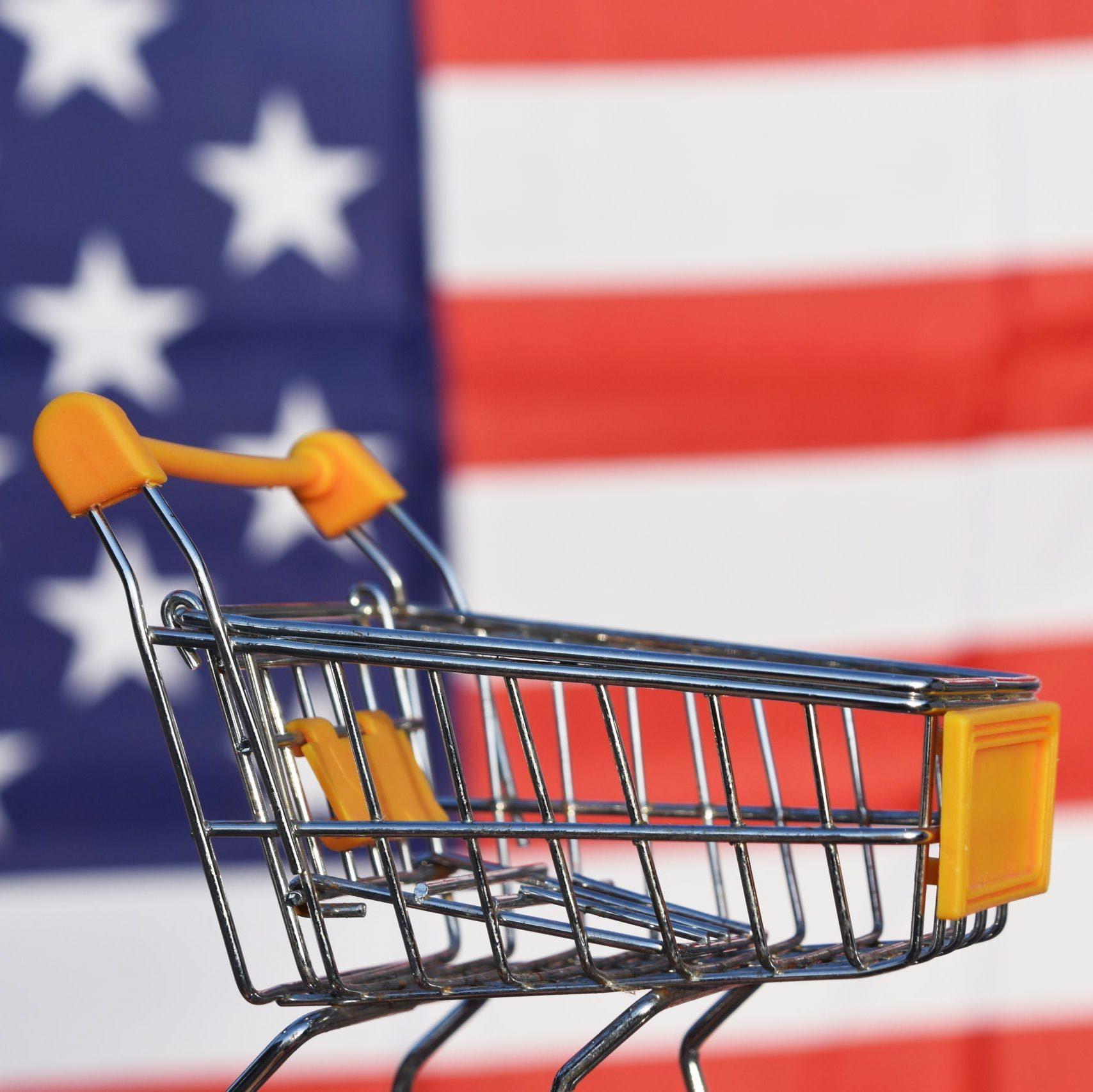 Shopping Cart, US Flag
