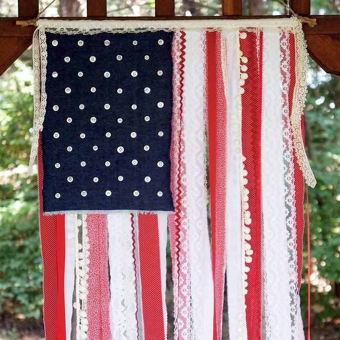 Patriotic Ribbon Lace And Fabric Scap Flag