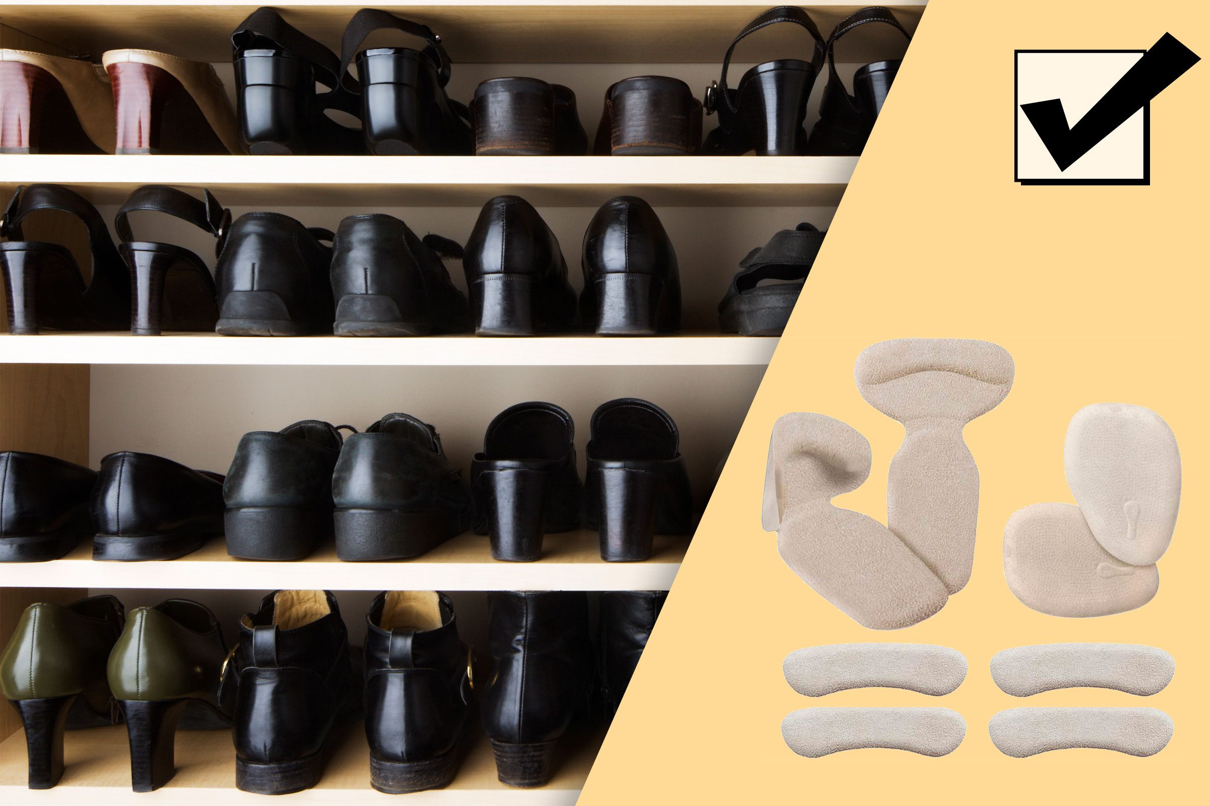 shoes lined up in a closet; and suggested product