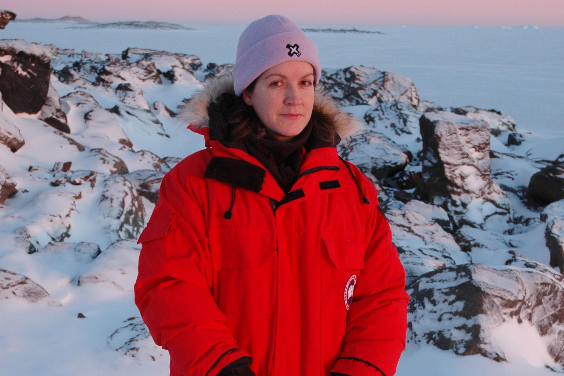 Rachael Robertson standing in Antacrtica