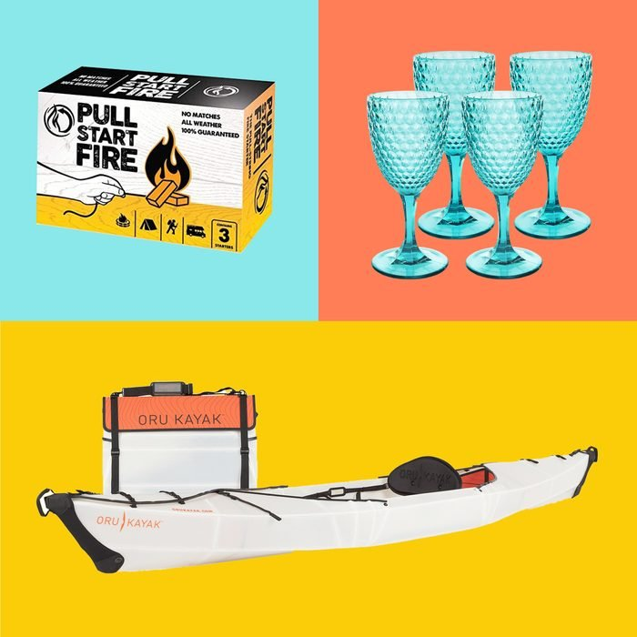 fire starter, wine cups, and kayak on colored backgrounds