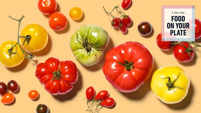 array of colorful heirloom tomatoes