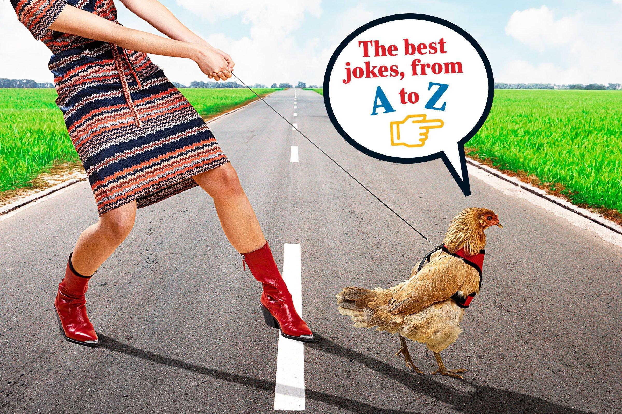 woman walking a chicken across the road
