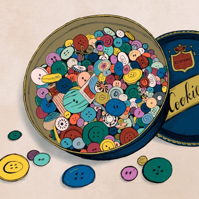 illustration of a tin of mixed buttons