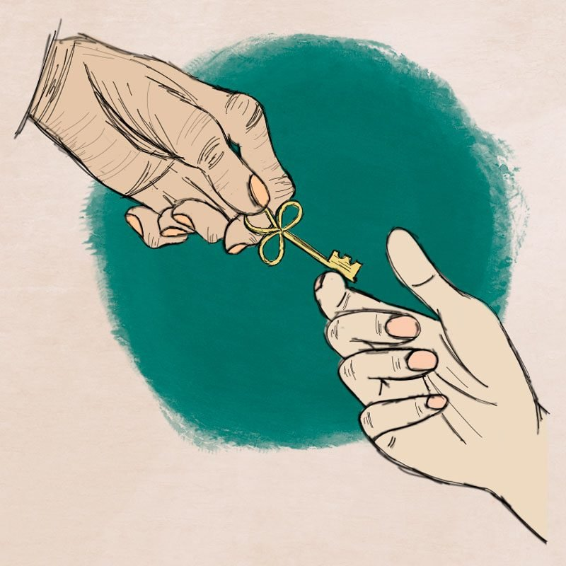 an older hand passing a key to a younger hand. illustration.