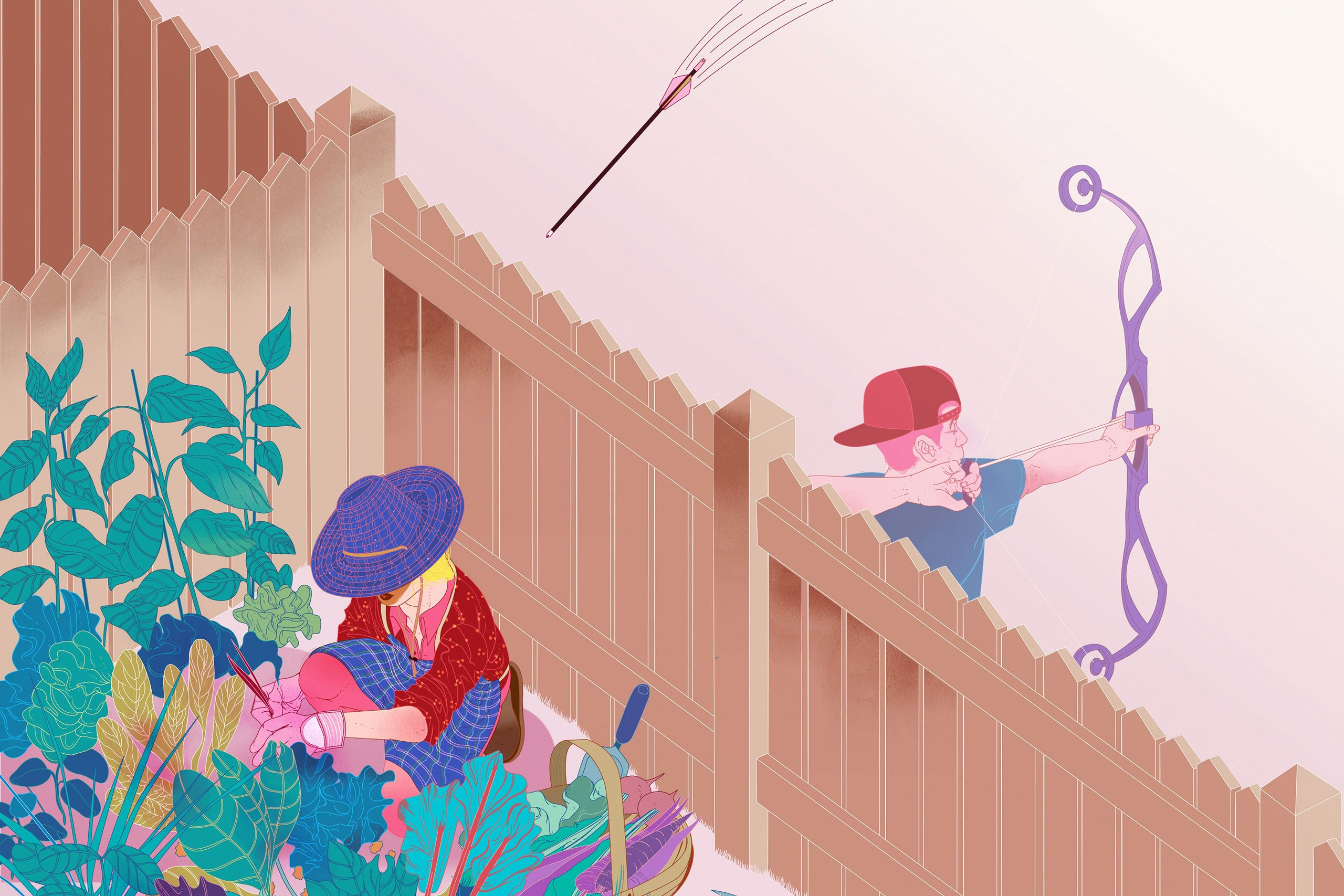 illustration of boy shooting an arrow and woman gardening