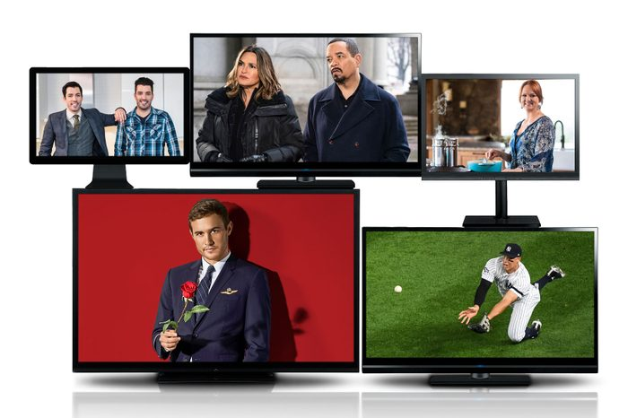 """five tv screens with """"guilty pleasure"""" tv shows"""