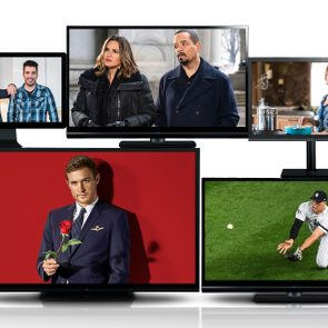 five tv screens with