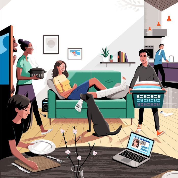 illustration of woman with a broken leg on the couch and people helping all around her