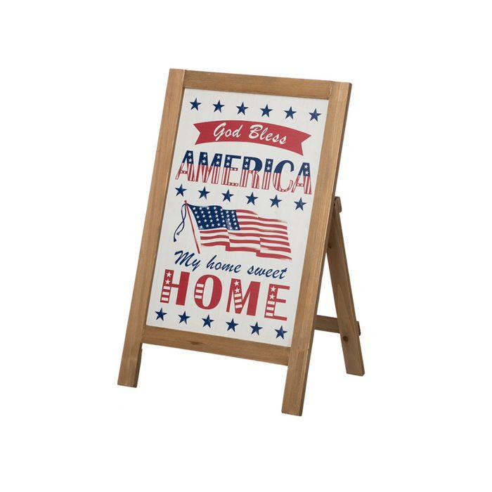 Wooden Patriotic Easel Sign