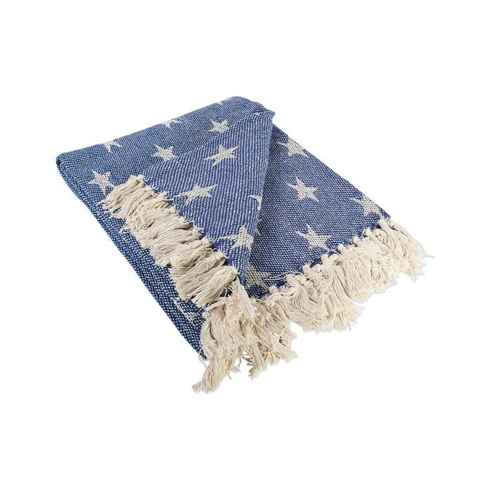 Woven Throw Blanket With Decorative Fringe