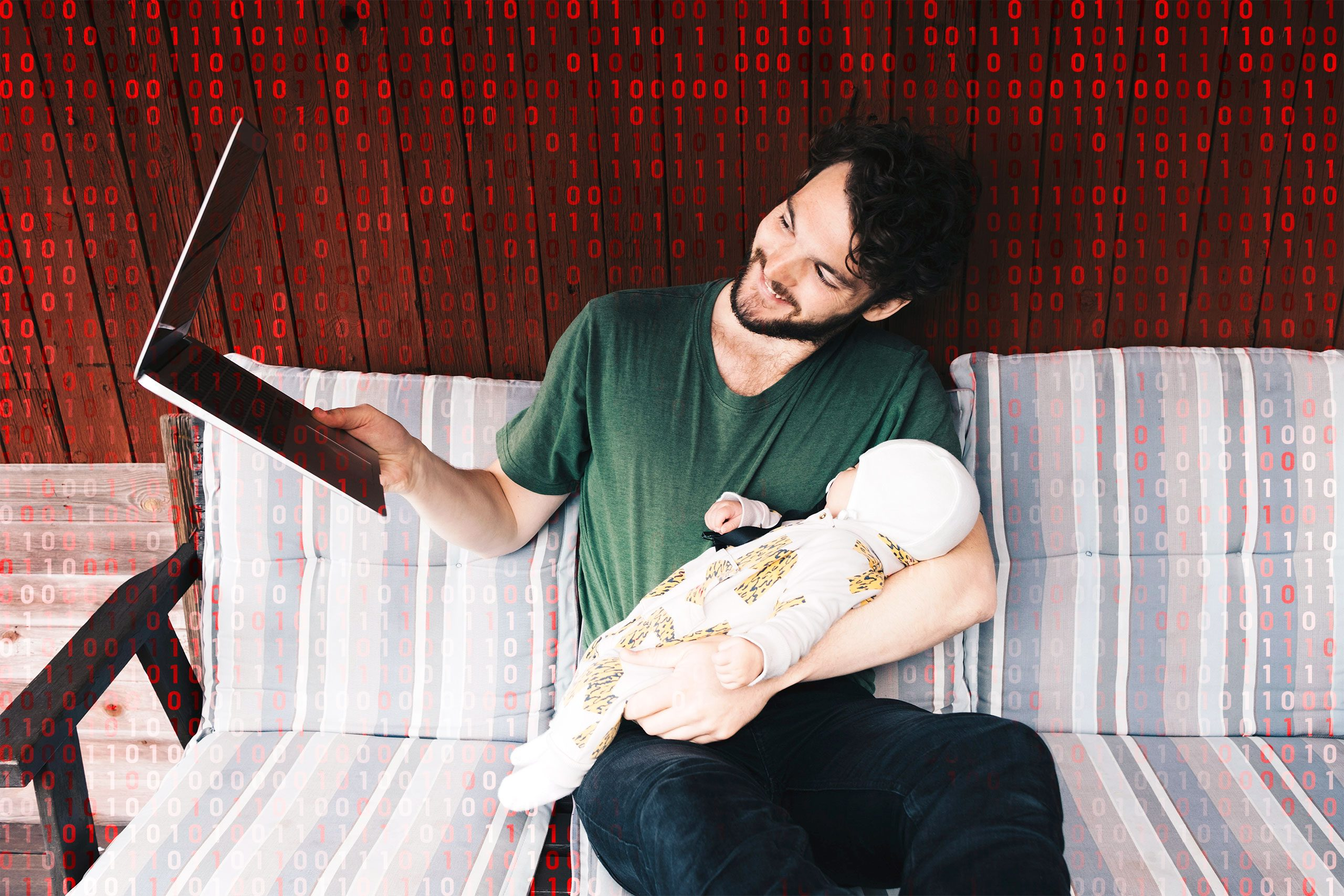man holding baby using zoom; computer code overlay