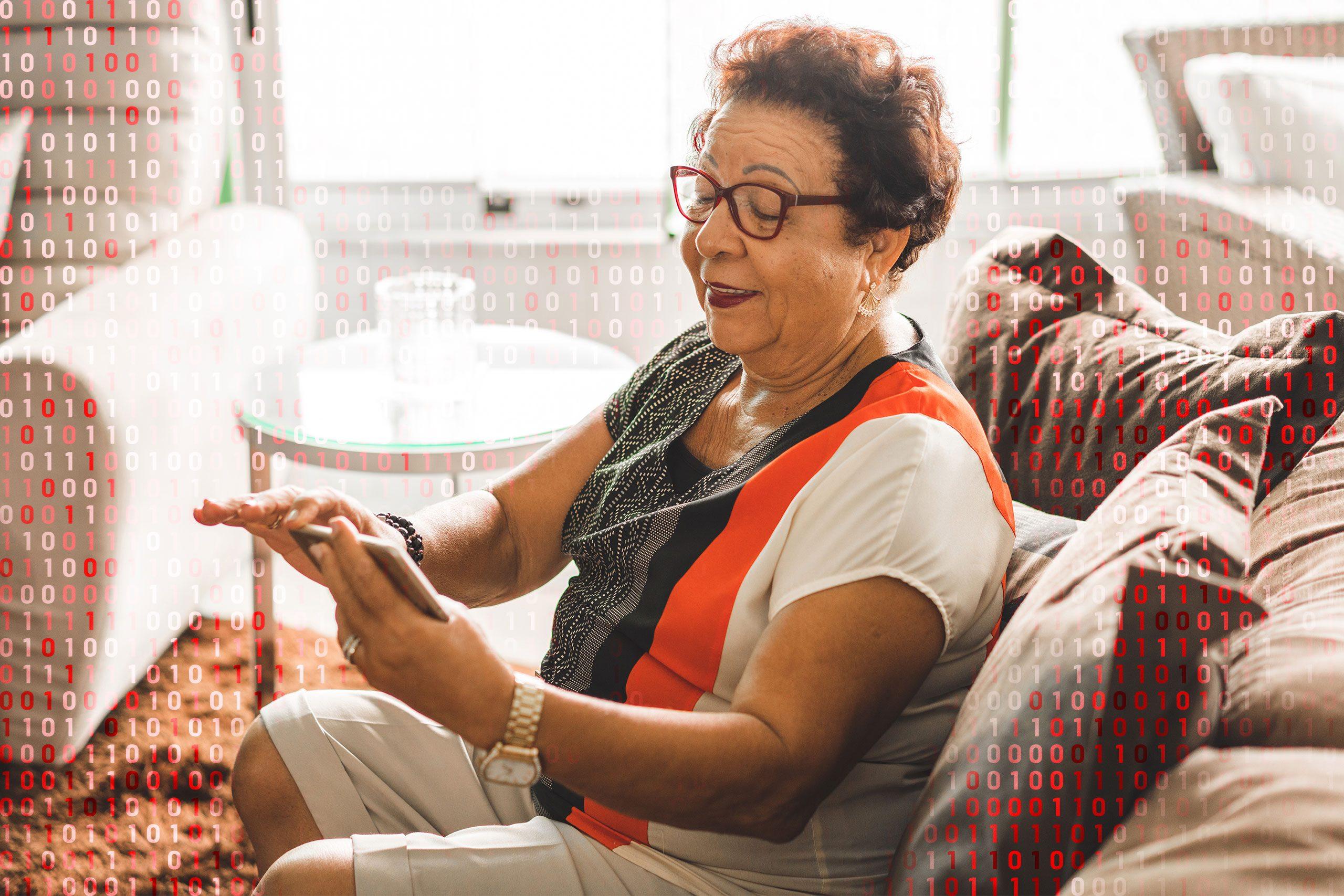 woman using zoom; computer code overlay