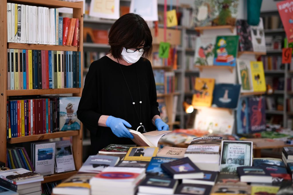 A book seller works inside the bookshop 'Trebisonda'. During...