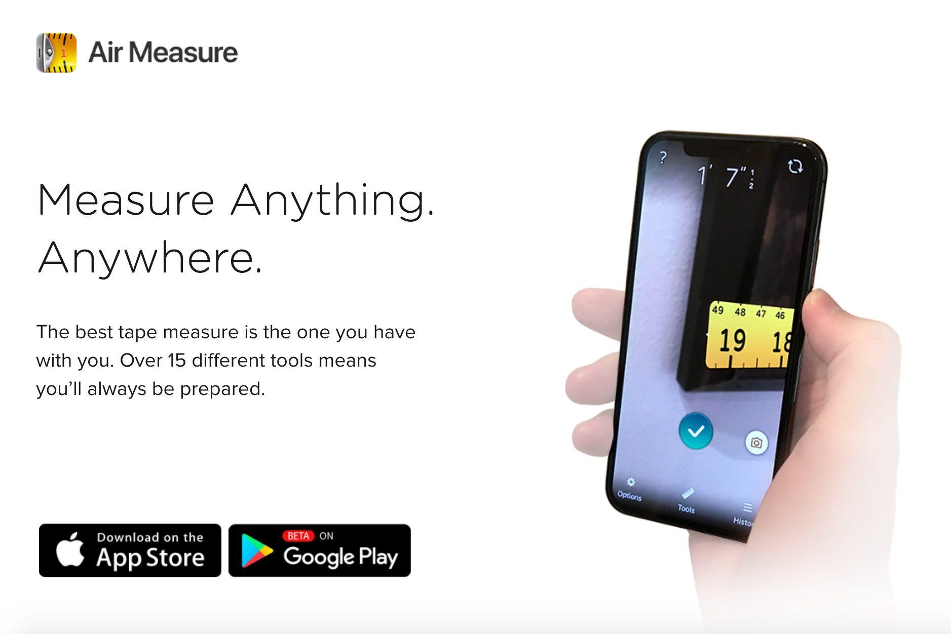 tape measure air measure app smart phone