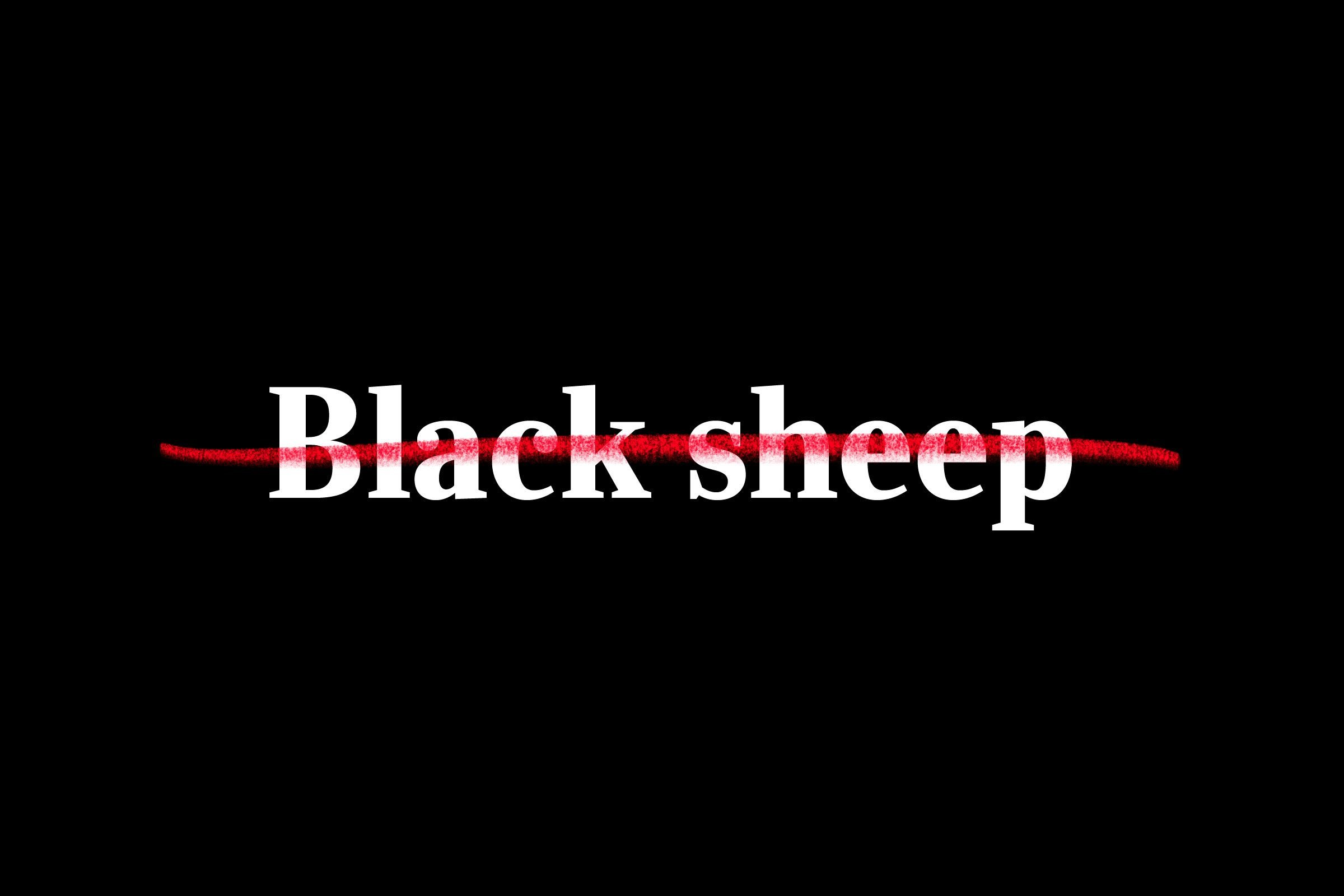 """black sheep"" crossed out"