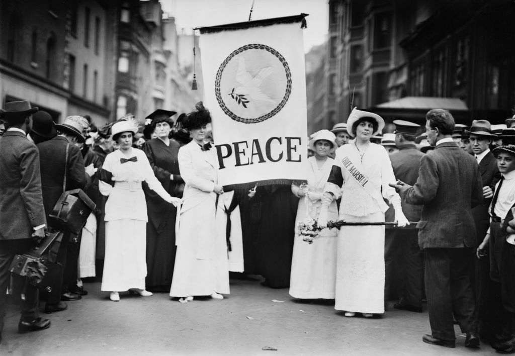 Chief Marshall Portia Willis and other Participants of Women's Peace Parade shortly after Start of World War I, Fifth Avenue, New York City, August 29, 1914