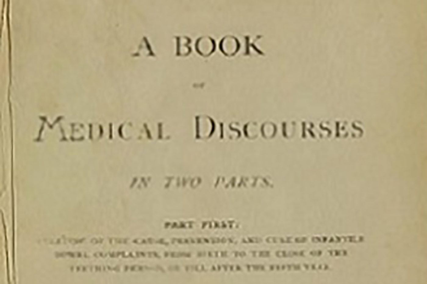 """Front page of Dr. Crumpler's """"A Book of Medical Discourses."""""""