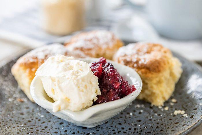 Garden scones with fresh cream and jam