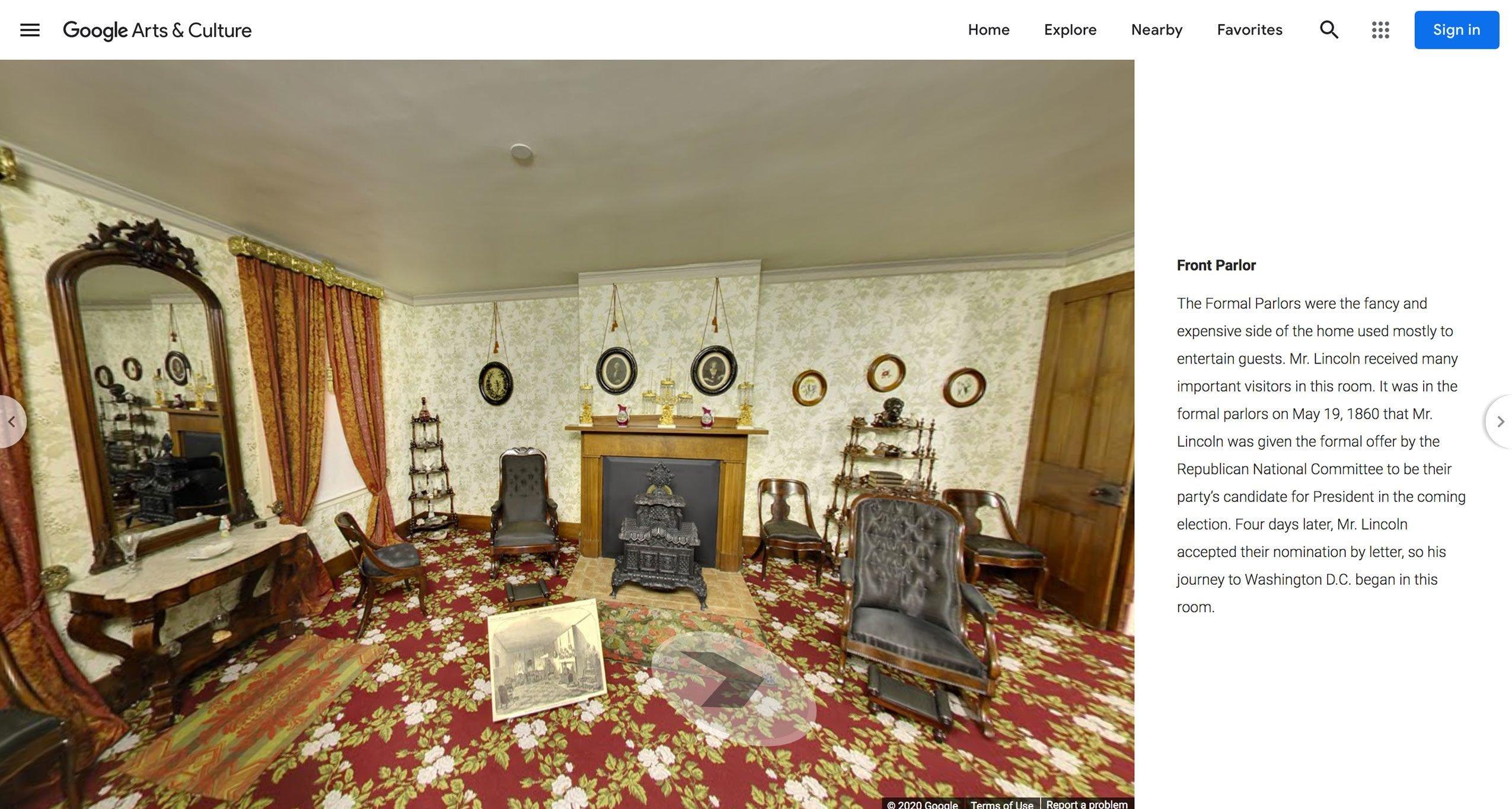 lincoln's home virtual tour