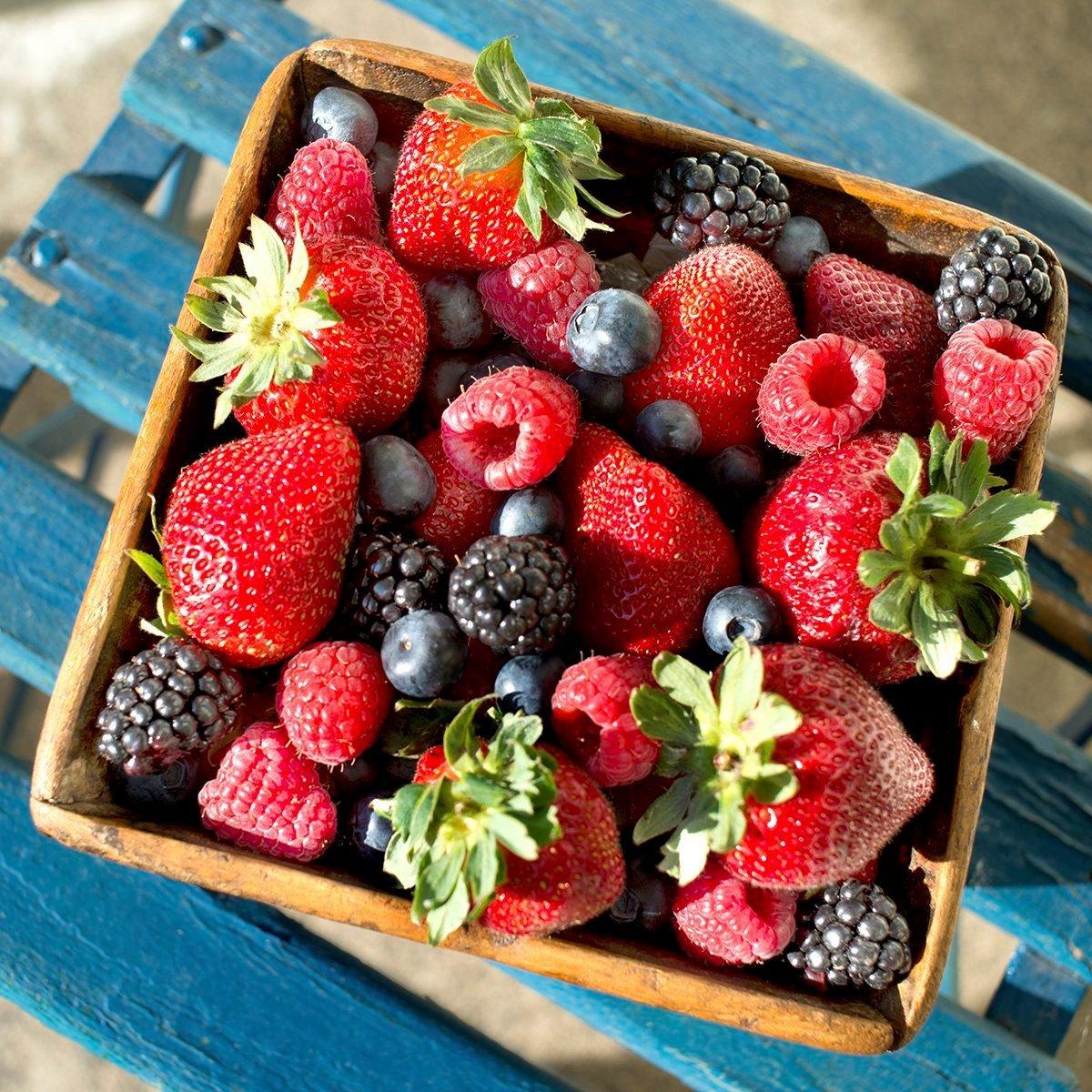 Fresh berries in basket