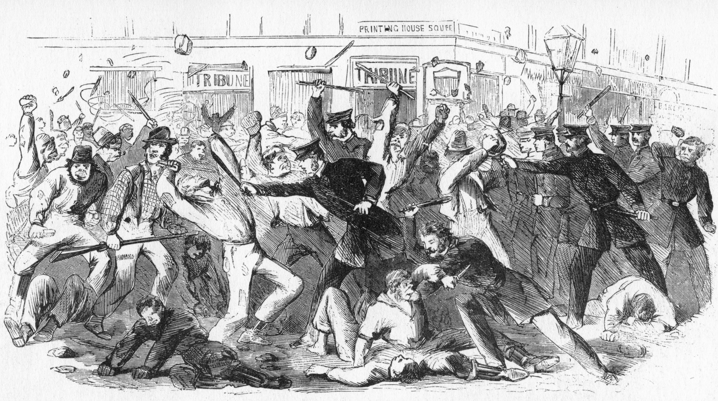 'Police Charge Rioters At The Tribune Office', c1860s.