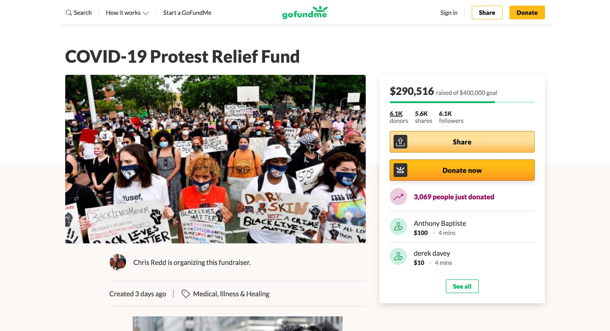 protest relief fund on gofundme