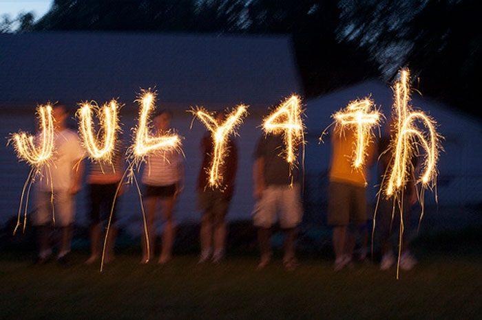 Sparkler long exposure spelling July 4th