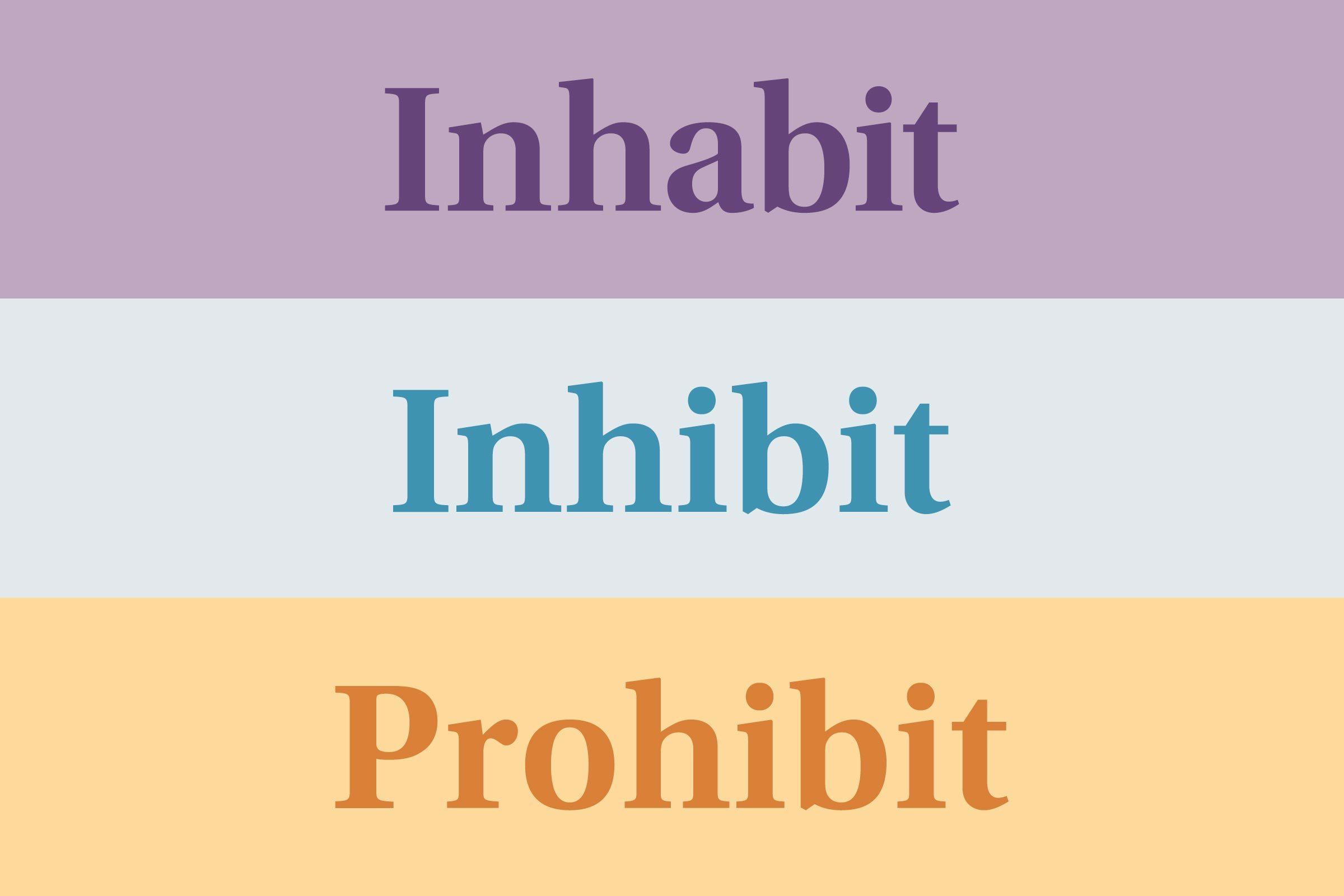 Inhabit vs. inhibit (vs. prohibit)