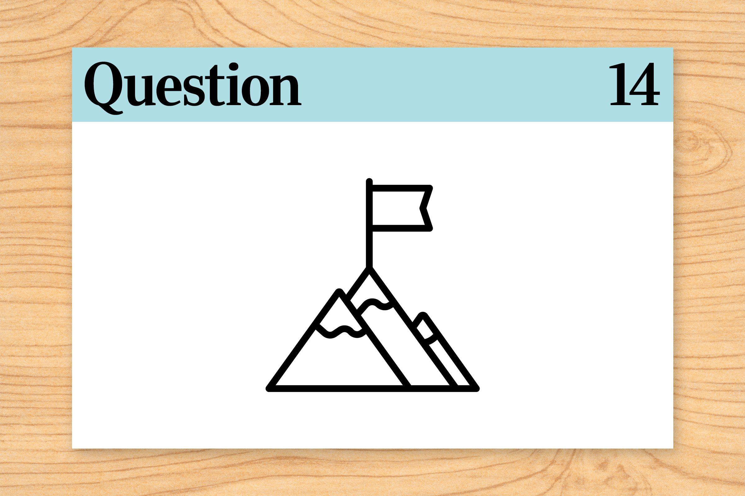 brain teaser. question 14. mountain illustration.