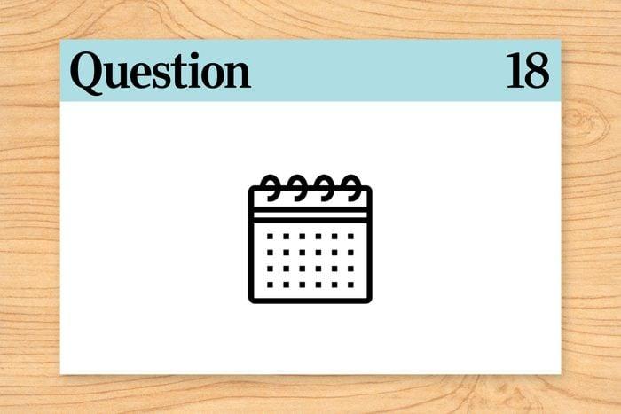 question 18 brain teaser. calendar icon.