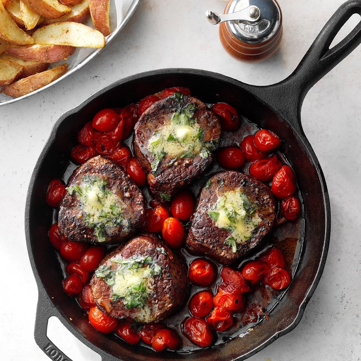December: Basil-Butter Steaks with Roasted Potatoes