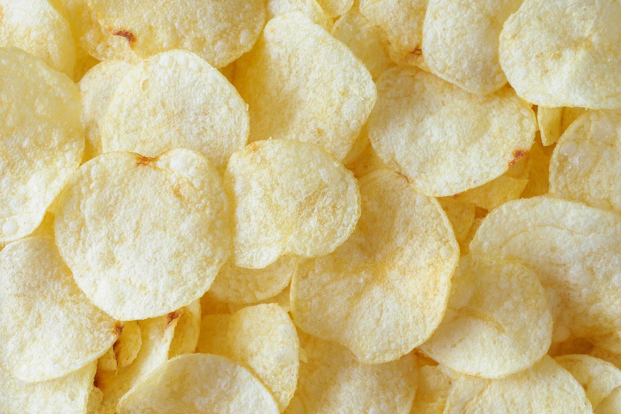 crispy potato chips snack texture background