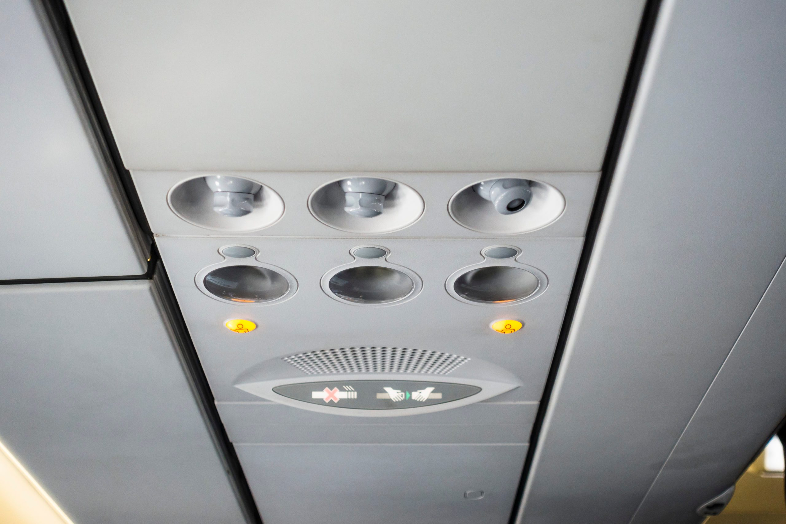 Airplane cabin interior detail