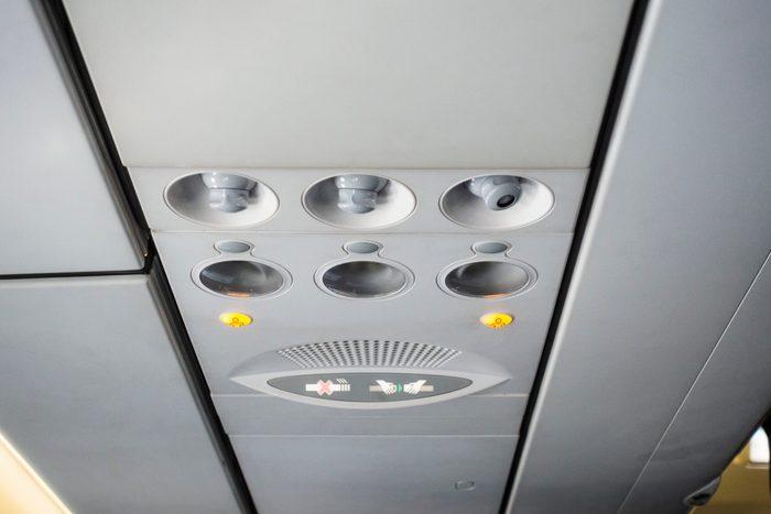 Airplane cabin interior detail