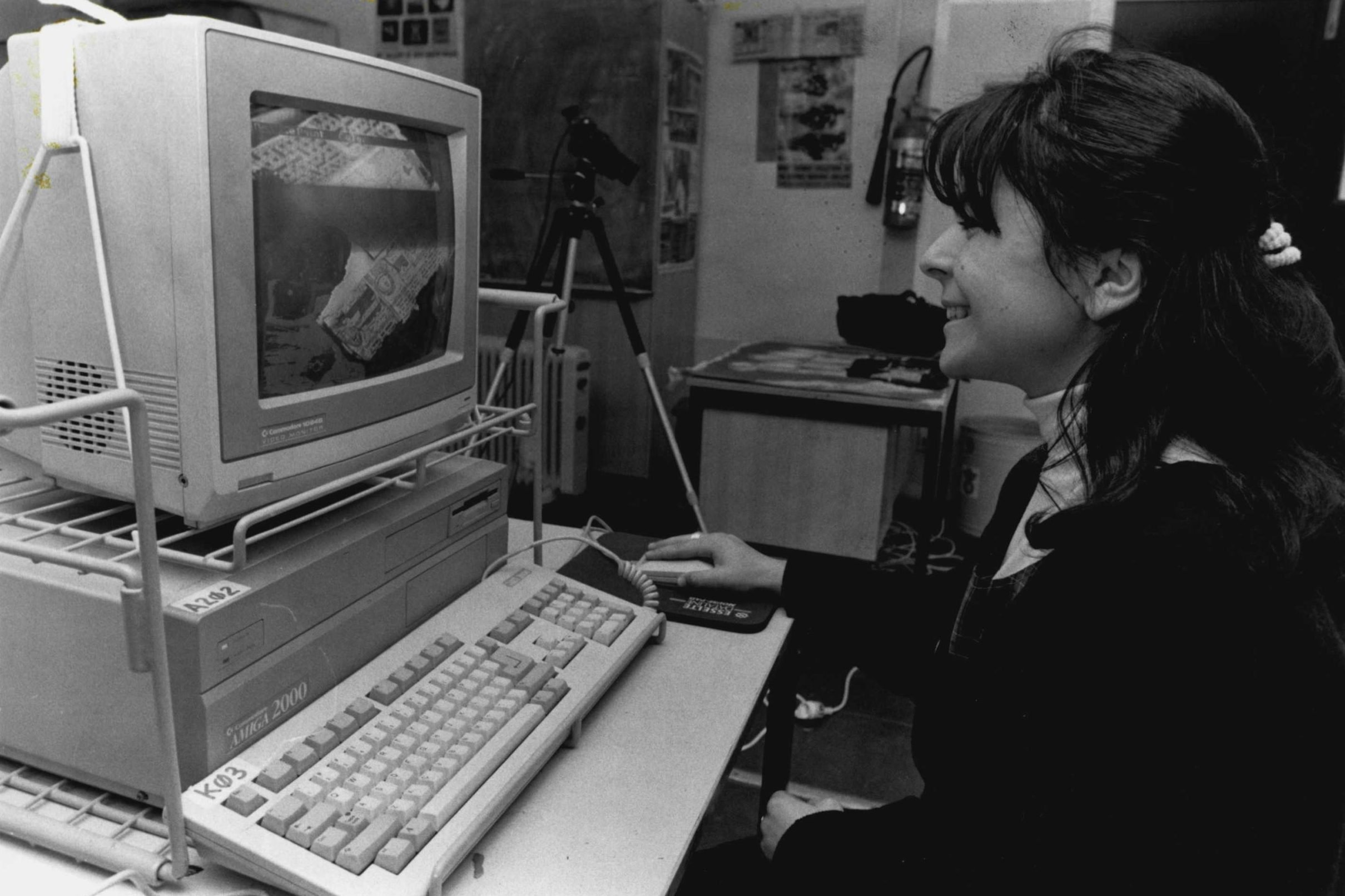 And Nina Petradis (left) studies by computer.Macarthui Girls' Technology High School, *****The school is sponsored by Commodore, which donated a large number of Amiga 500 computers and arranged a good discount when the school purchased additional co
