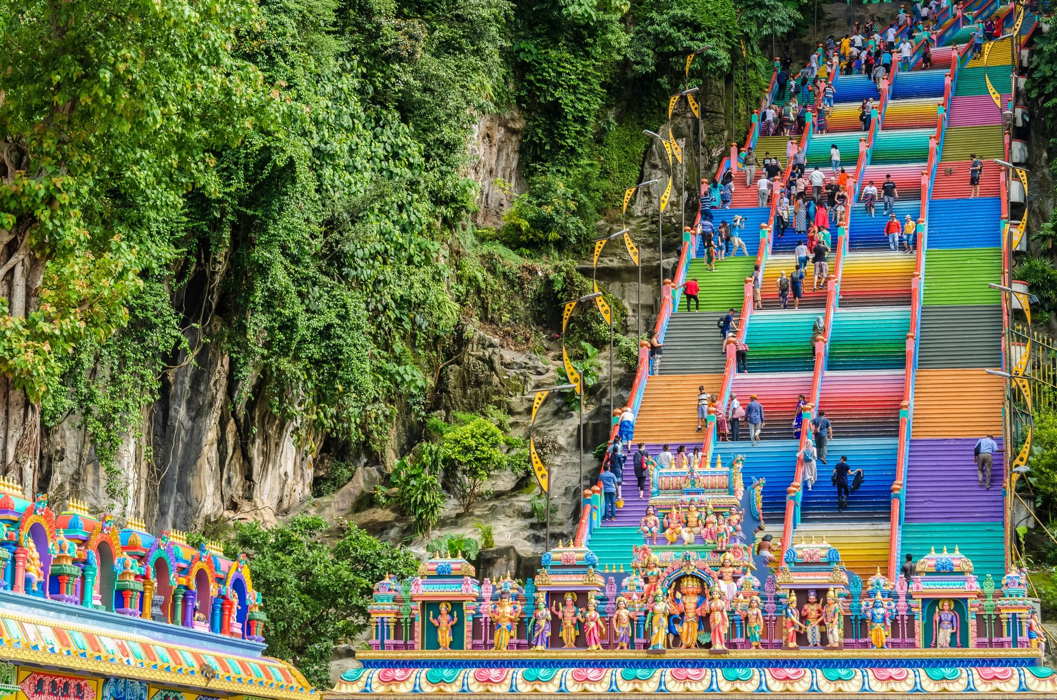 Batu Caves is a limestone hill that has a series of caves and cave temples in Gombak,Malaysia.