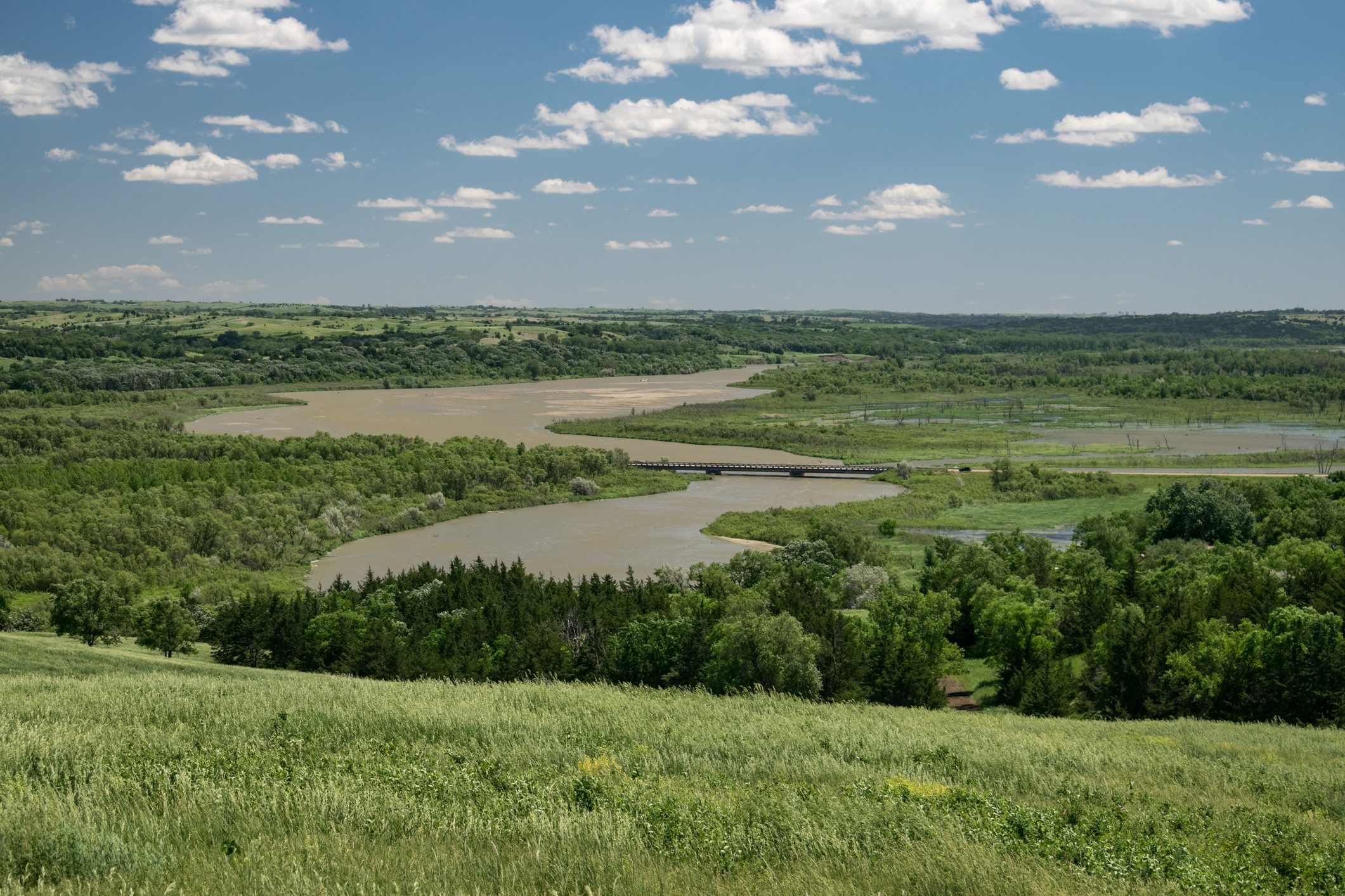 View of the Missouri river from a hill in Niobrara state park, Nebraska
