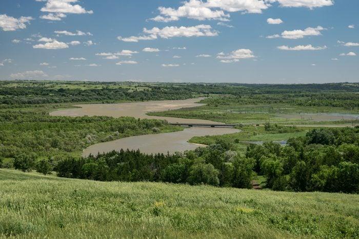 View of the Missouri river from a hill in Niobrara state park, Nebraska