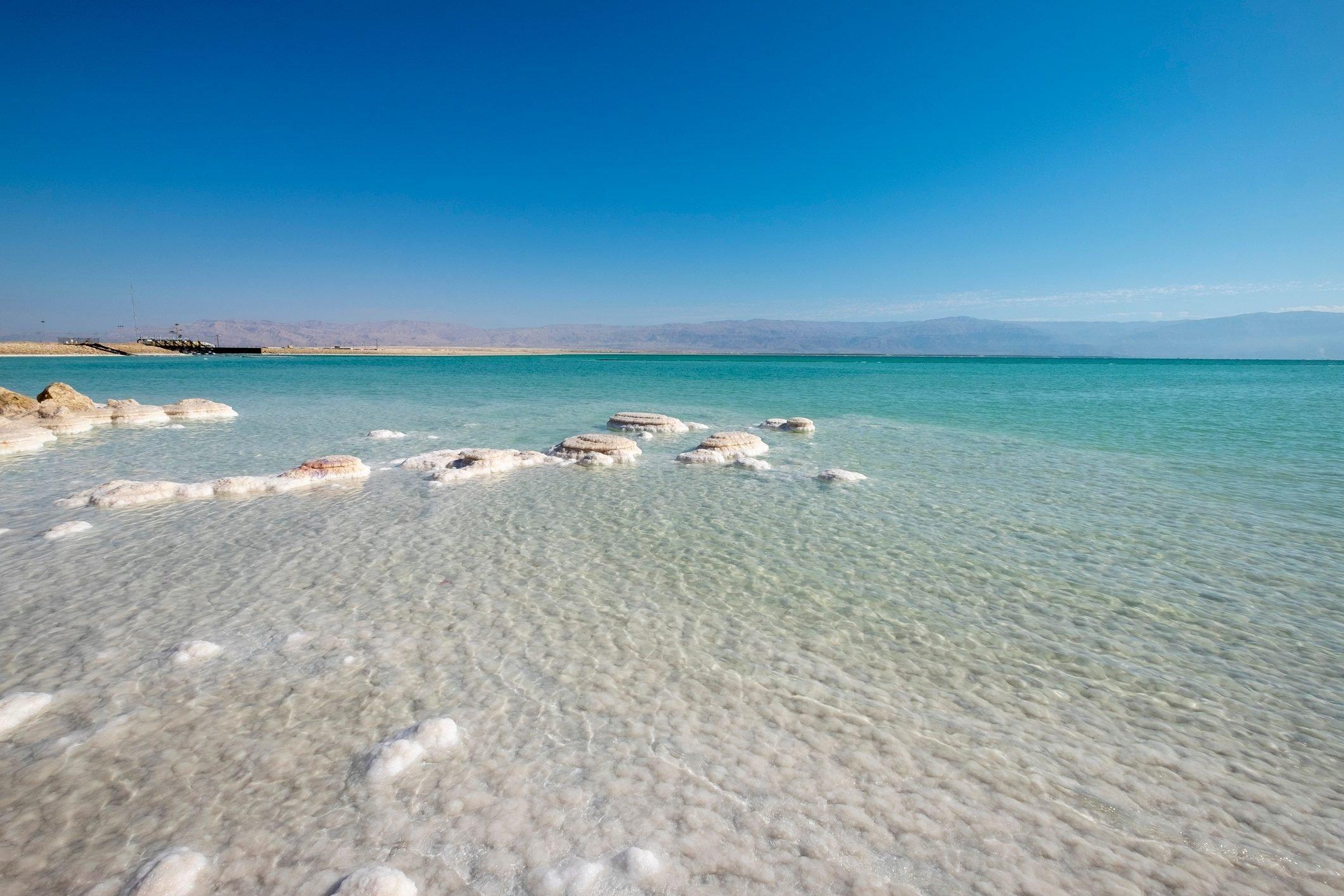Crystallised salt rocks, Dead Sea, Israel