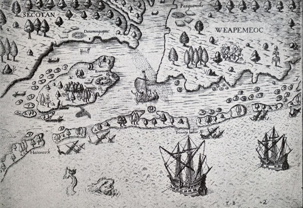 Illustration showing Roanoke Island. centre left. explored 1584