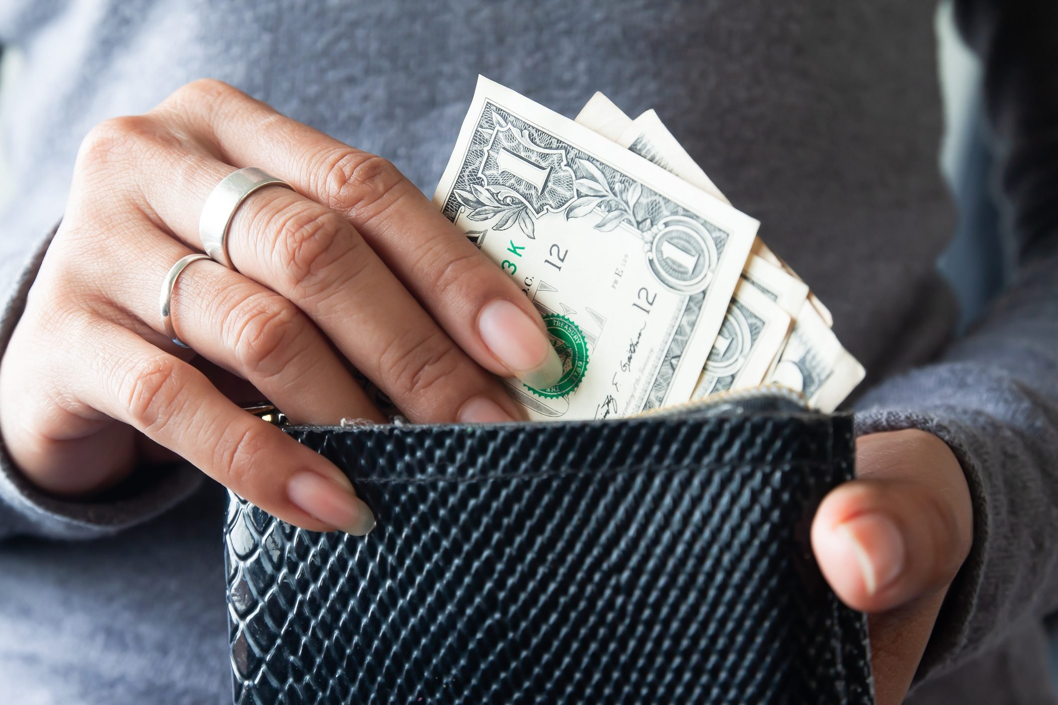 Midsection Of Woman Holding Wallet With Paper Currency
