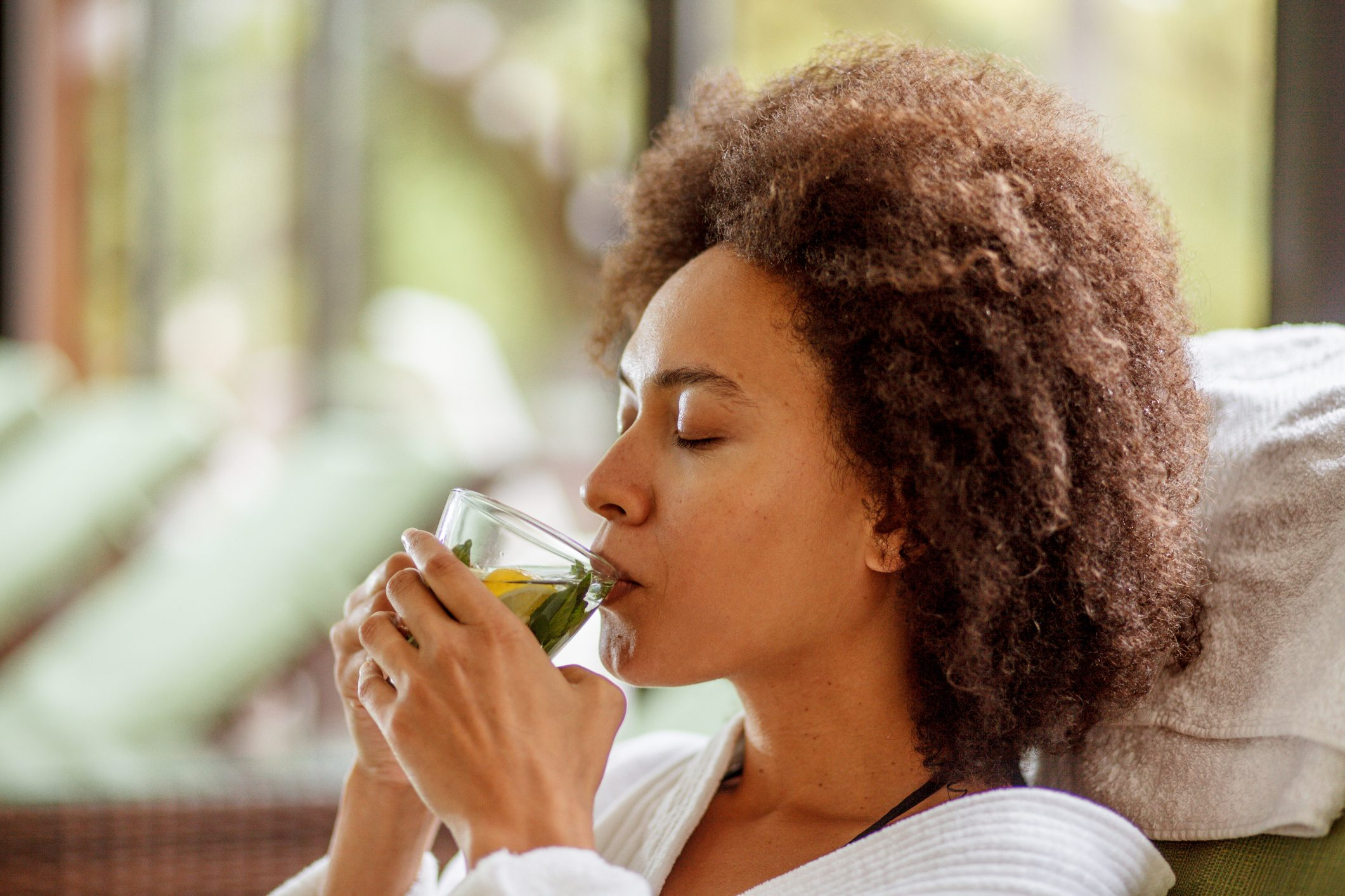 Drinking herbal tea at the wellness resort
