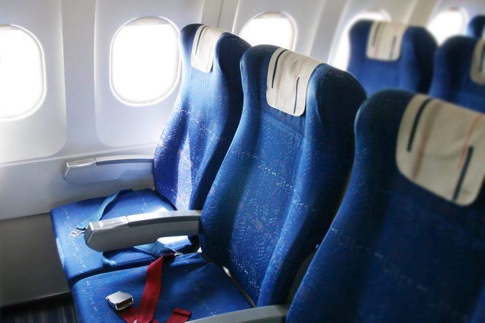 A roomy interior of an airplane