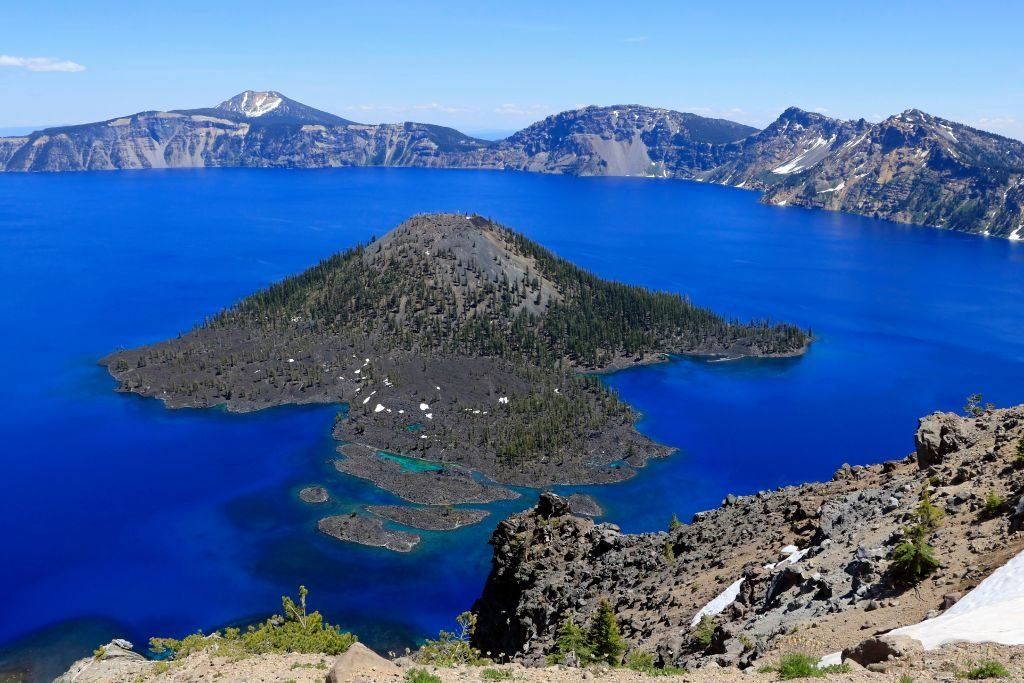 Wizard Island in Crater Lake National Park Oregon