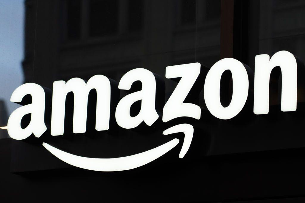 American multinational technology company Amazon logo...